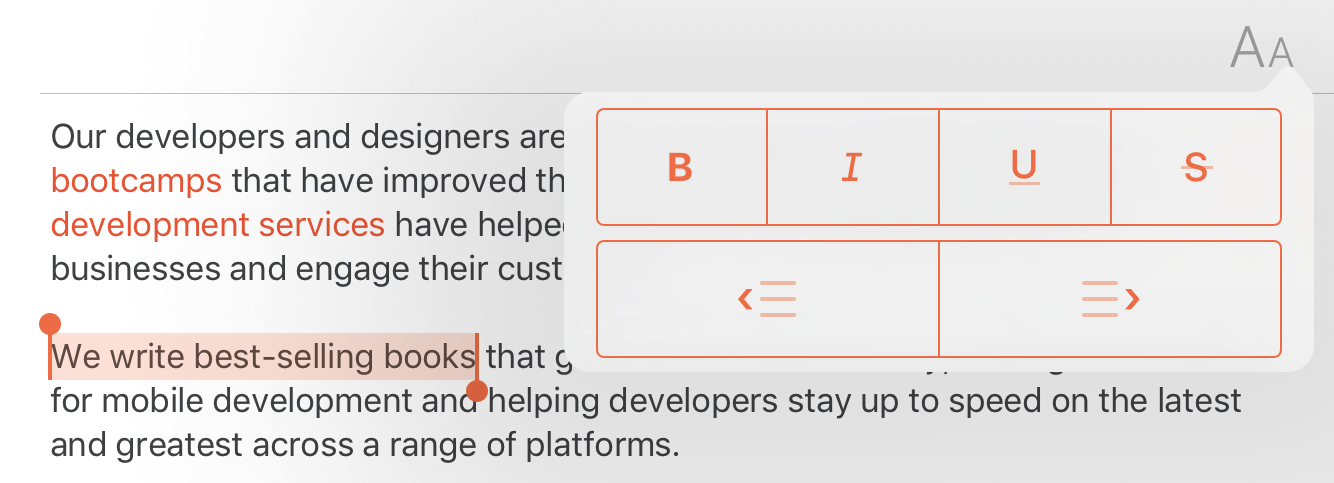 A popover text style menu