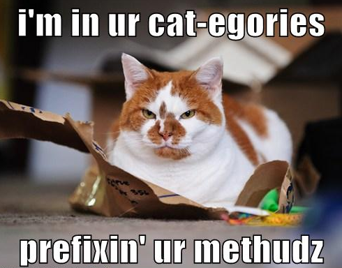 Viiki is in ur cat-egories, prefixin' ur methudz